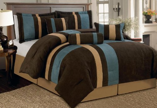 7 Piece Brown, Beige, and Blue Micro Suede Baywood Comforter Set Machine Washable Bed-in-a-bag Set, Queen Size