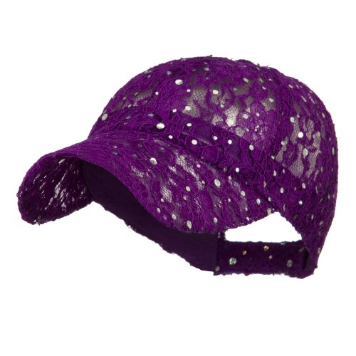 - Lace Sequin Glitter Cap - Purple OSFM