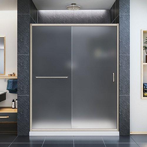 DreamLine Infinity-Z 32 in. D x 60 in. W Kit, with Sliding Shower Door in Brushed Nickel and Right Drain White Acrylic Base