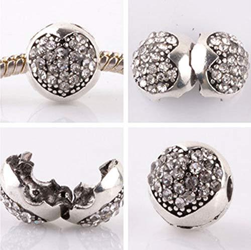- 1pcs silver love ball White CZ snap beads fit Charm European Bracelet DIY AB954