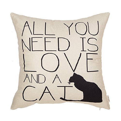 """Fjfz All You Need is Love and a Cat Lover Quote Cotton Linen Home Decorative Throw Pillow Case Cushion Cover for Sofa Couch, 18"""" x 18"""""""