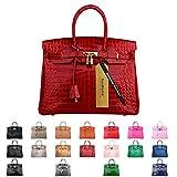 SanMario Designer Handbag Top Handle Padlock Women's Leather Bag Crocodile's Skin Patterns Embossed with Golden Hardware Red 35cm/14''