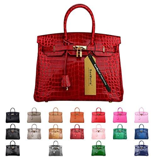 Crocodile Print Patent Bag - SanMario Designer Handbag Top Handle Padlock Women's Leather Bag Crocodile's Skin Patterns Embossed with Golden Hardware Red 30cm/12