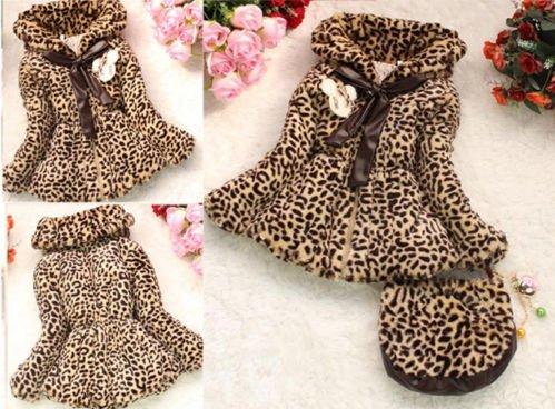 Baby Girls Faux Fur Leopard Print Coat Kids Winter Wear