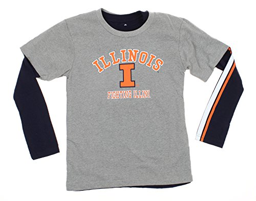 Youth Boys NCAA Classic Fade 2 Shirt Combo Pack, Various Teams (Illinois Fighting Illini, Large (14-16)) (Shirt Classic Illinois)