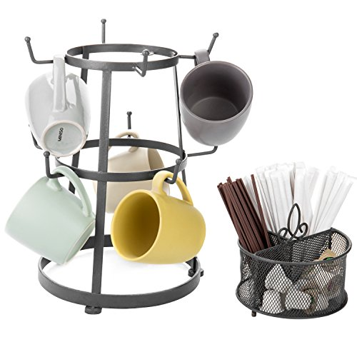 (MyGift 9-Hook Grey Metal Coffee Mug & Cup Stand with Utensil Bin w/Removable Accessory Basket)