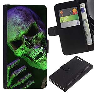 KLONGSHOP // Tirón de la caja Cartera de cuero con ranuras para tarjetas - Scary verde cráneo del vampiro - Apple Iphone 6 PLUS 5.5 //