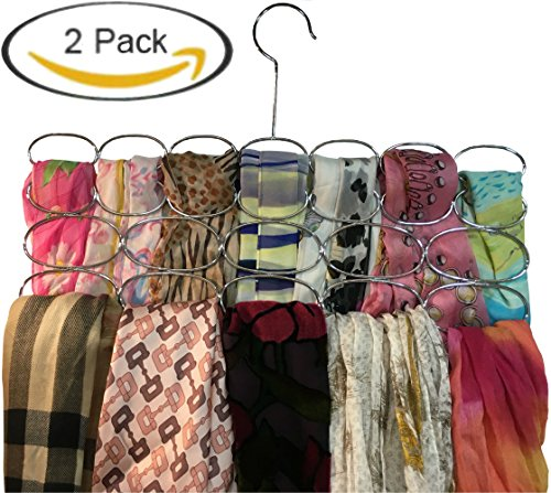 Durable Steel Scarf, Tie, Belt hanger organizer holder rack – 24 loop Chrome (Pack of 2)