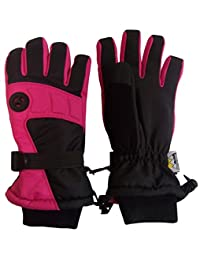 N'Ice Caps Kids Extreme Cold Weather Premier Colorblock Ski Glove with Air Hole (7-8yrs, Black/Fuchsia)