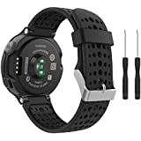 Garmin Forerunner 235 Watch Band, V.one Silicone Watch Band Replacement/ Black Wristband for Garmin Forerunner 235/ 220 / 230 / 620 / 630 / 735xt / Approach S6 / Approach S20 Watches