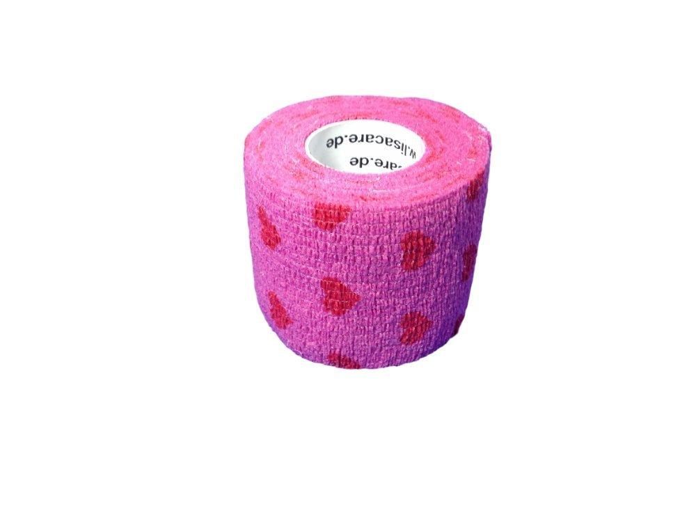 Lisacare, garza elastica, benda di fissaggio, autoadesiva, elastico, larghezza 5cm, per umani e animali, per sport equitazione