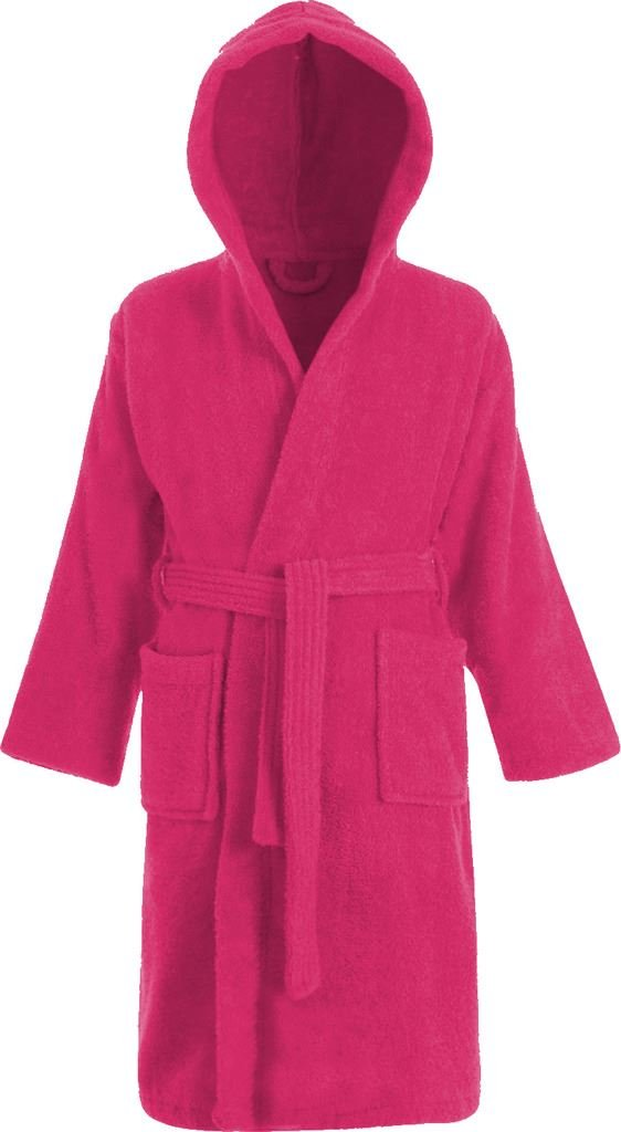 Kids 100% Cotton Bathrobe Hooded Terry Towelling Shawl Collar Bath Robe Bath Robe Dressing Gown 3 Colours Age 2-13 Adore Home