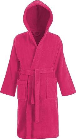 Kids 100 Cotton Bathrobe Hooded Terry Towelling Shawl Collar Bath
