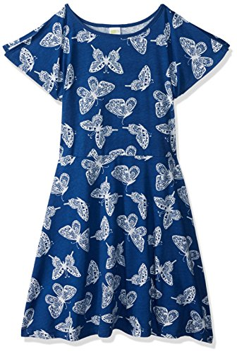 - Crazy 8 Little Girls' Short Split Sleeve Knit Dress, Blue Butterfly, L