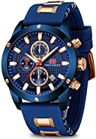 Men's Watch Analogue Military Chronograph Luminous Quartz Watch with Fashion Silicon Strap for Sport & Business Work MF0089G