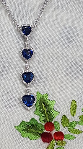 18k Sapphire Necklace - 18k white gold heart shape Ceylon sapphire necklace with diamonds