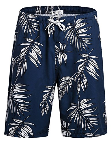Hawaiian Print Swim Trunks (APTRO Board Shorts Mens Swimwear Beach Shorts Bathing Suits Trunks DZSK HWP024 S)