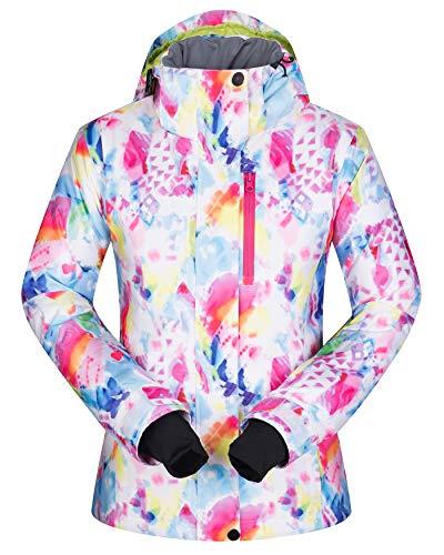 Women's Ski Jacket Outdoor Waterproof Windproof Coat Snowboard Mountain Rain Jacket SJW004 Watercolour S