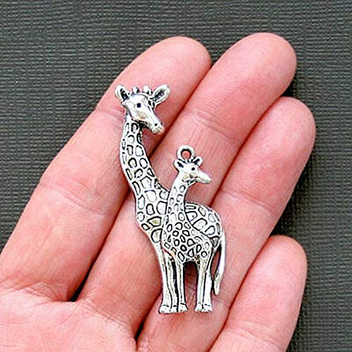 2 Giraffe Charms Antique Silver Tone Mother and Baby for Pendant Bracelet DIY Jewelry Making