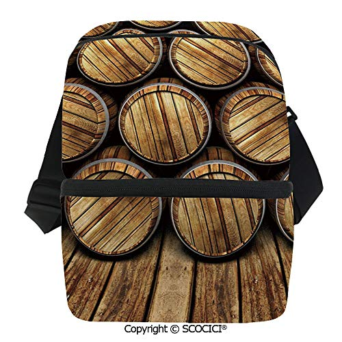 (SCOCICI Collapsible Cooler Bag Wall of Wooden Seem Barrels Cellar Storage Winery Rum Container Stack Insulated Soft Lunch Leakproof Cooler Bag for Camping,Picnic,BBQ)