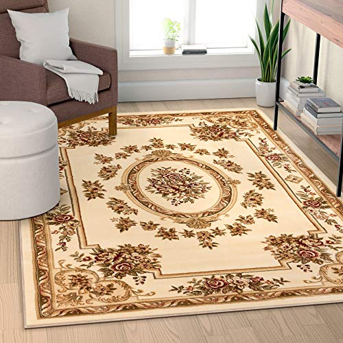 - Well Woven Timeless Le Petit Palais Ivory Traditional Area Rug 7'10