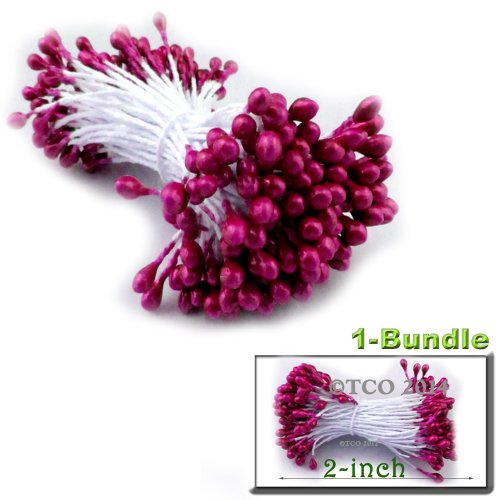 The Crafts Outlet Bundle of 144 Double End Pearl Stamens for Scrapbooking, 2-Inch, (Stamen Assortment)