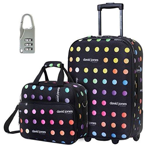 DAVIDJONES Upright Carry-on & Travel case 2 Piece Luggage Set-Lettre Capitales