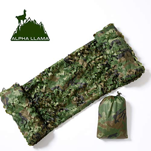 Alpha Llama Extra Durable and Safe 210D Oxford Camo Netting, 6.5 x 10ft Woodland for Camping, Military, Professional Hunting, Shooting, Blind, Hide, Children