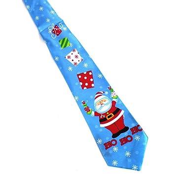 CNBB Corbata De Navidad Estampada Azul 9.5Cm Corbata Roja De ...