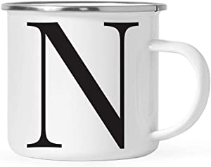 Andaz Press Stainless Steel 11oz. Campfire Coffee Mug Gift, Formal Black Monogram Initial Letter N, 1-Pack, Christmas Birthday Camping Camp Cup, Includes Gift Box