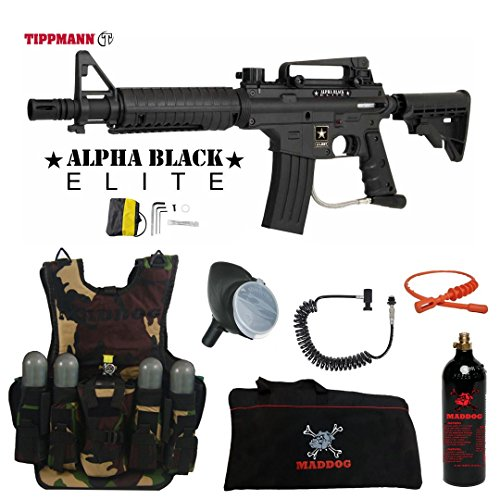 MAddog Tippmann U.S. Army Alpha Black Elite Tactical Lieutenant Tactical Camo Vest Paintball Gun Package - Black
