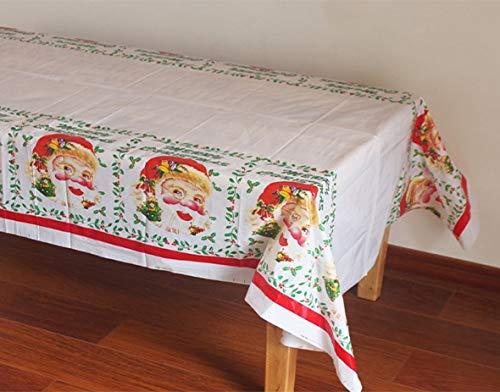 108 x 180 cm mu/ñeco de Nieve y Navidad Juego de 3 manteles Desechables de PVC dise/ño de Pap/á Noel QICI
