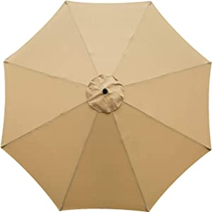 Sunnyglade 9ft Patio Umbrella Replacement Canopy Market Umbrella Top Outdoor Umbrella Canopy with 8 Ribs (Tan)