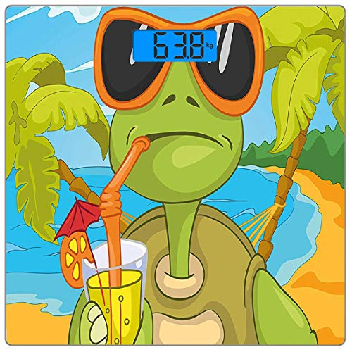 (Precision Digital Body Weight Scale Turtle Ultra Slim Tempered Glass Bathroom Scale Accurate Weight Measurements,Cool Sea Turtle with Sunglasses Drinking Cocktail at The Beach Cartoon)
