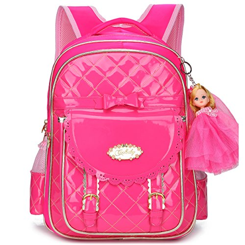 Waterproof PU Leather Kids Backpack Cute School Bookbag for Girls (Small, Rose Red-2)