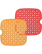 Tuaha Forros reutilizáveis para fritadeira a ar, antiaderentes, de silicone, para fritadeira a ar, acessórios para fritadeira a ar, quadrados, 7585 cm, sem BPA, 2 unidades robustas