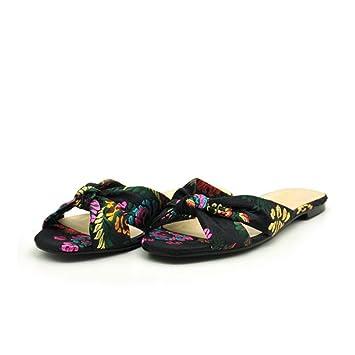 XIE Sandalias Zapatillas Femeninas con punta abierta Chanclas personalizadas Flores de tela Cómodas zapatillas antideslizantes para mujer: Amazon.es: ...