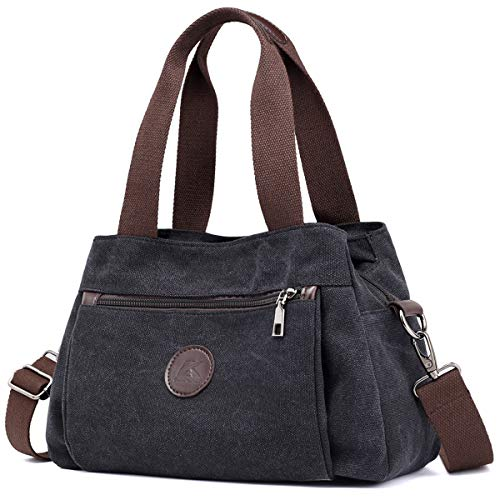 DOURR Hobo Handbags Canvas Crossbody Bag for Women, Multi Compartment Tote Purse Bags (Black), Medium