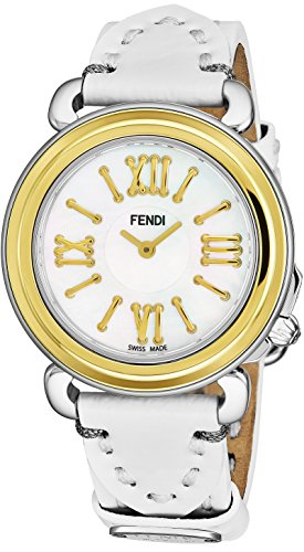 Leather White Fendi (Fendi Selleria Womens Stainless Steel Fashion Swiss Watch - Mother of Pearl Face Yellow Gold Bezel White Leather Strap Vintage Dress Watch for Women with Interchangeable Band F8011345H0-PS18R04S)