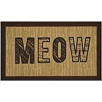 Pet Collection Meow Mat Doormat Beige Brown Slip Skid Resistant Rubber Backing (Beige Brown, 17 x 30 Mat)
