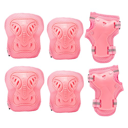 (PAMASE Knee Elbow Wrist Protective Pads for Kids - Sports Safety Pads Set for Rollerblade, Cycling, Skateboard- Pink S)