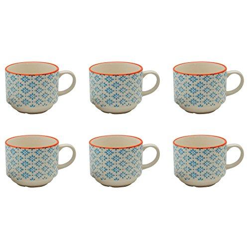 Stacking Mug Blue (Patterned Porcelain Tea / Coffee Stacking Cups - Blue / Orange Design - Pack of 6)