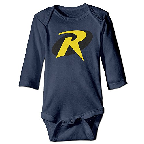 Kids Baby Batman Robin R Super Hero Logo Long-sleeve Romper Jumpsuit Navy (Robin Outfit For Babies)
