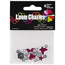 Touch of Nature 50605 Loom Band Charms Bright Pink Glitter Assortment, 6-Piece