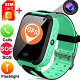 Kids Smart Watch Phone with Free SIM Card- 1.44'' Touch GPS Tracker Wrist Watch for Boys Girls with Camera Pedometer Wearable Smartwatch Bracelet Travel Summer Children Travel Camping Birthday Gifts
