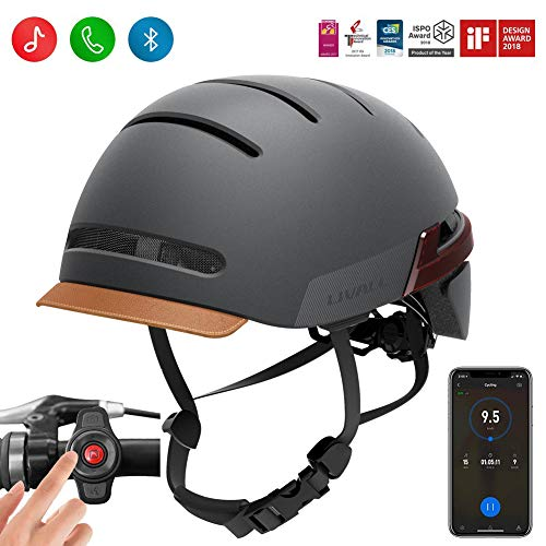 LIVALL BH51M Smart Bike Helmet with Auto Sensor LED,Turn Signal Tail Lights,Connects via Bluetooth for Music&Calls, Certified Comfortable Cycling Helmet