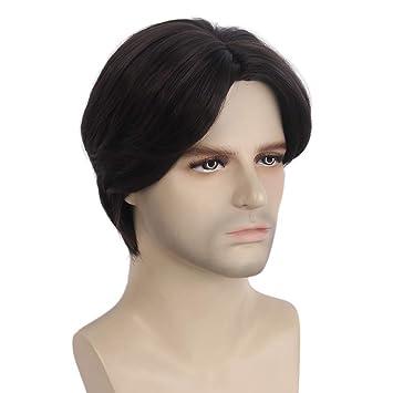 Amazon Com Stfantasy Mens Wig Dark Brown Short Straight Middle