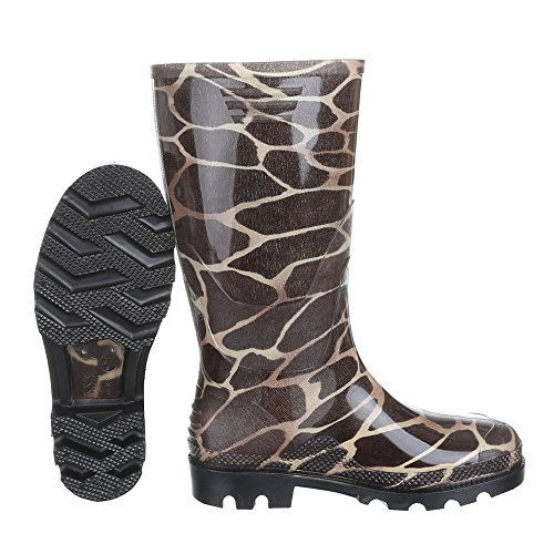 Ital-Design Damen Schuhe, GST-F901P, Regenstiefel Gummistiefel Braun 19