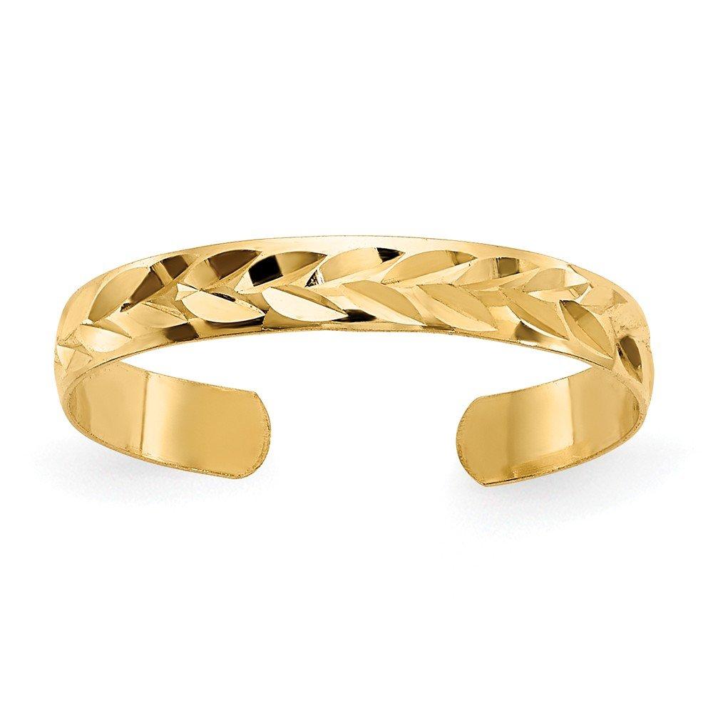 Diamond-Cut 2mm Toe Ring in 14 Karat Gold