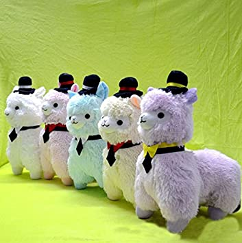 35cm Kawaii Japanese Alpaca Plush Wearing Cap 5colors Peluches Alpacasso Stuffed Animals Llama Toys For Children